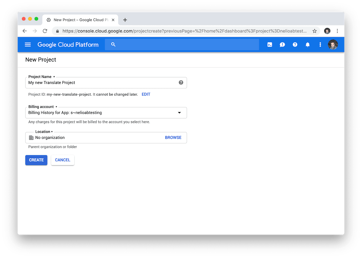 Creation view of a new project in Google Cloud.