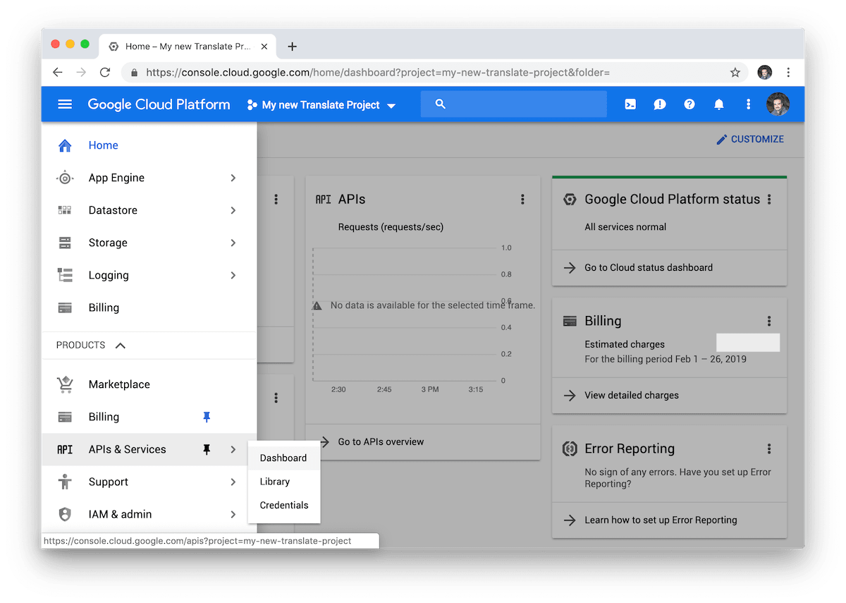 Google Cloud APIs and services menu.