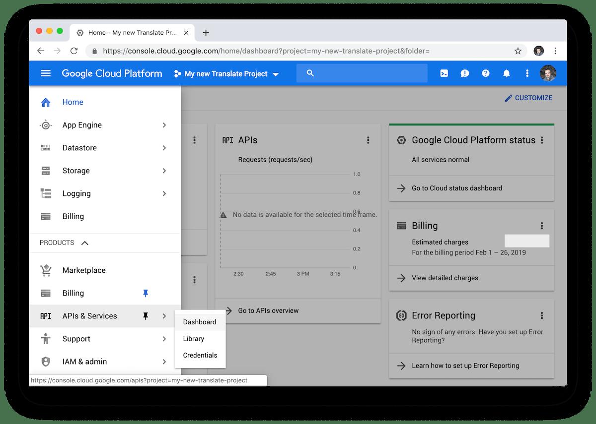 Menú de APIs y servicios de Google Cloud.