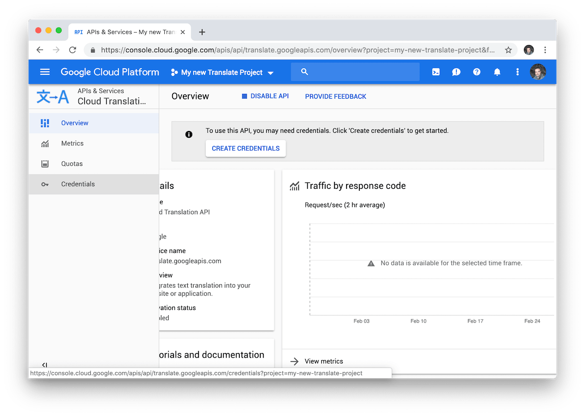 Google Cloud Translate credential management menu.