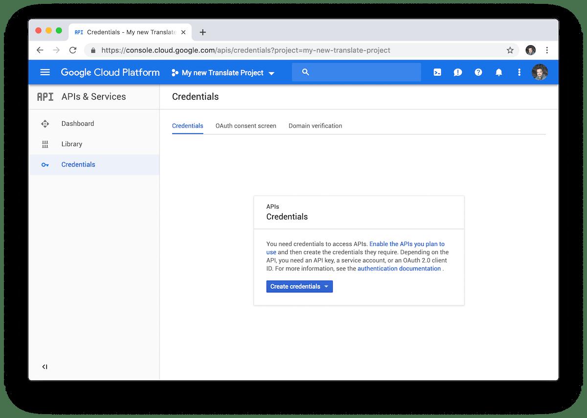 Hay que seleccionar el tipo de credencial API Key para crear una nueva clave para la API de Google Translate.