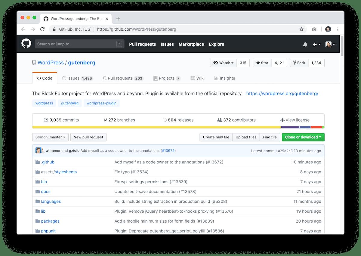 Repositorio de GitHub de Gutenberg para WordPress.