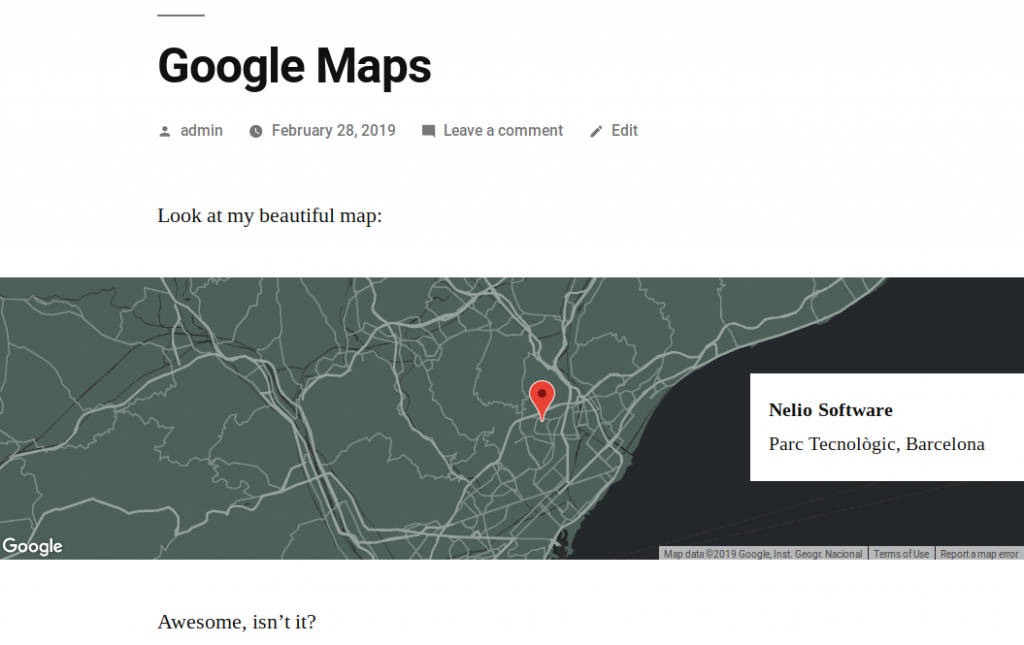 Google map with the Nelio Maps plugin in the front-end