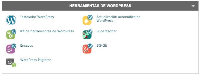 Ensayos de WordPress en SiteGround
