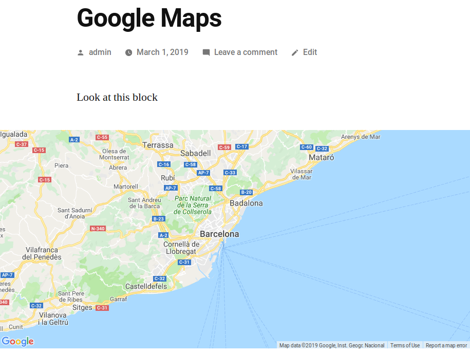 Default view of the map in the front-end