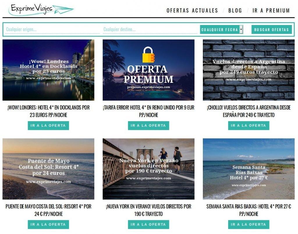 Captura de pantalla de la web Exprime Viajes