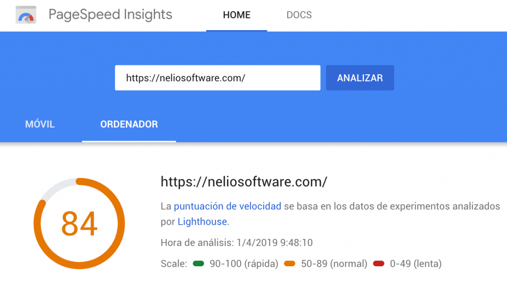 Resultados de Google PageSpeed Insights.
