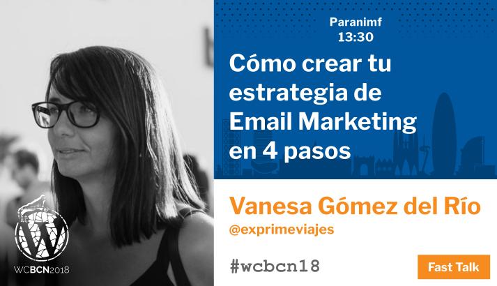 Imagen promocional de la charla de Vanesa Gómez en la WordCamp Barcelona