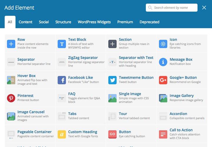 Captura de pantalla con los diferentes tipos de contenido que ofrece WPBakery