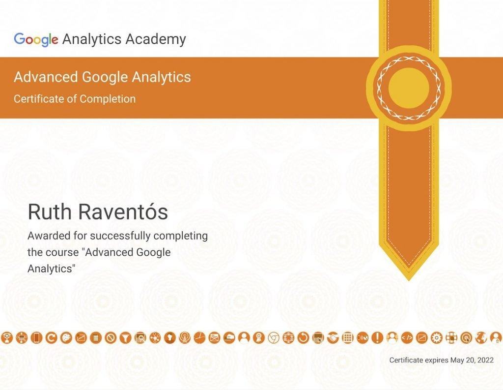 Certificado del curso avanzado de Google Analytics.
