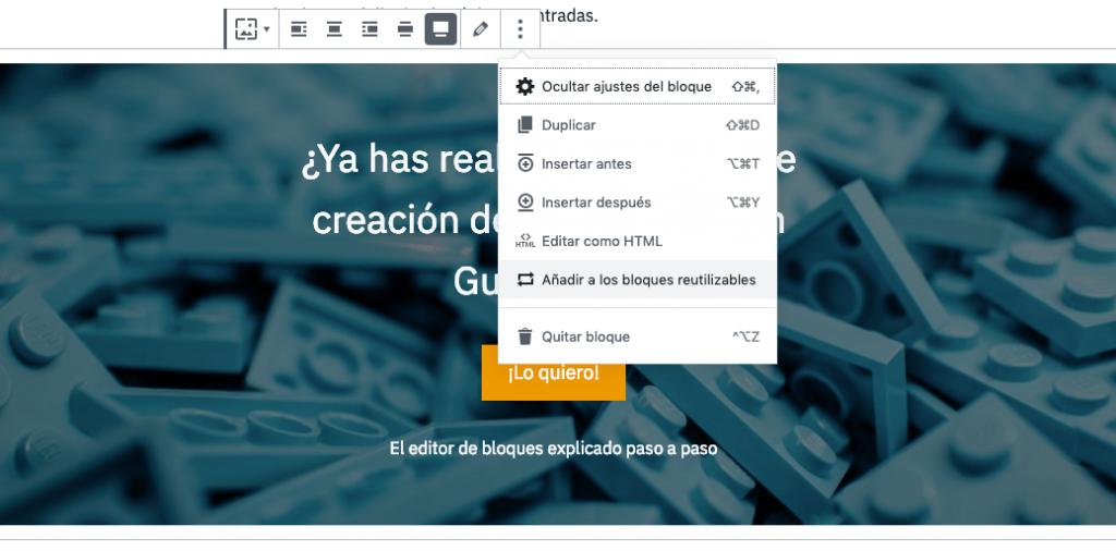 Añadir un bloque reutilizable a la biblioteca de bloques de WordPress.