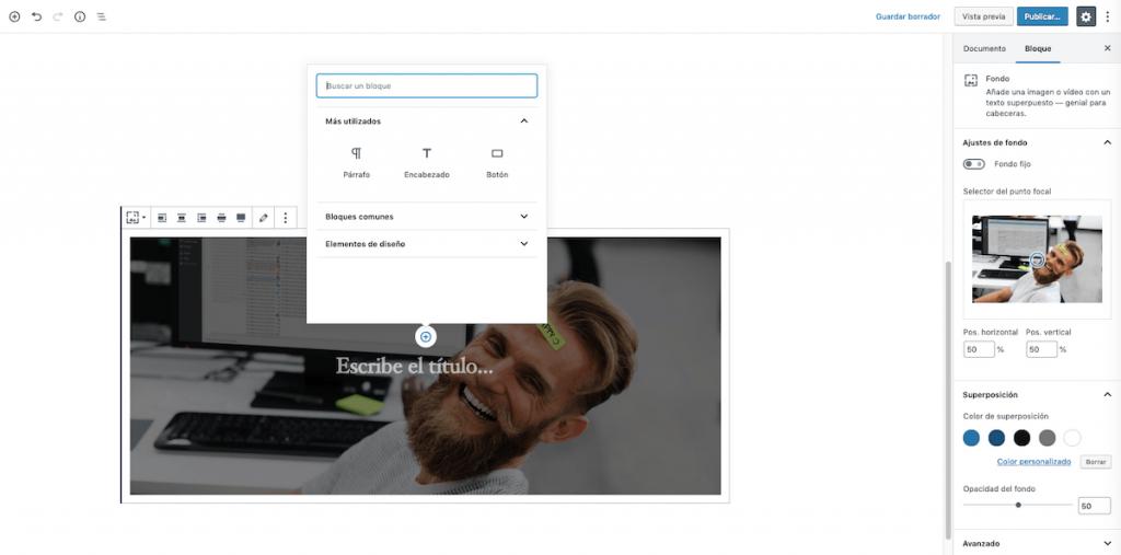 Personalización del bloque fondo.