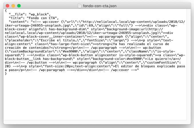 Archivo JSON del bloque reutilizable Fondo con CTA que hemos creado.