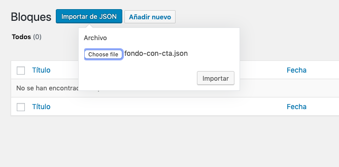 Importa archivo JSON