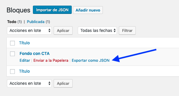 Opción exportar como JSON