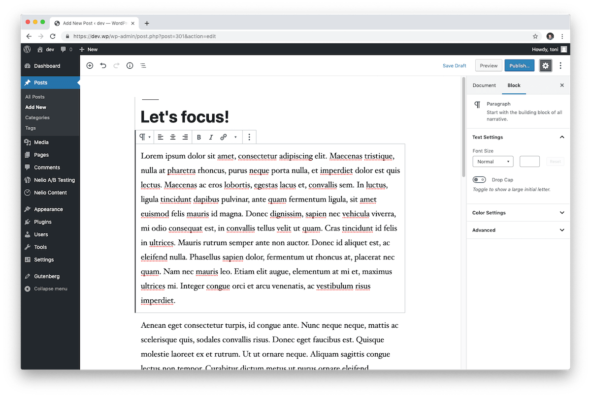 The WordPress block editor introduces a modern interface where each piece of content is a block.