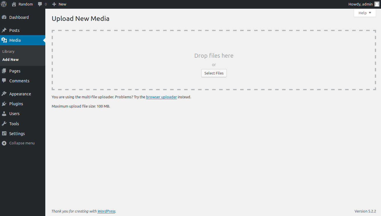 Screen to upload new images to WordPress
