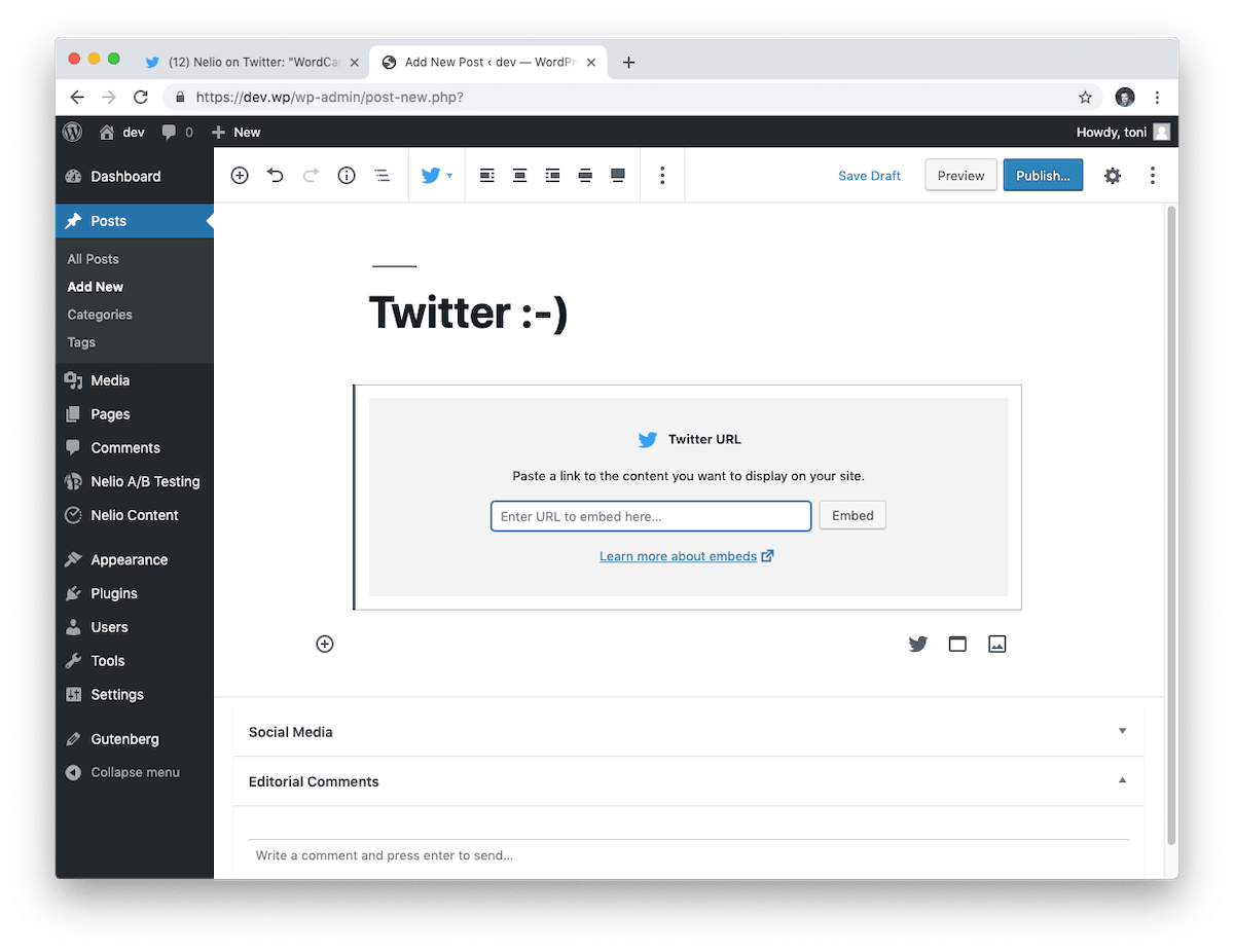 The Twitter block allows you to include a tweet by pasting its URL.