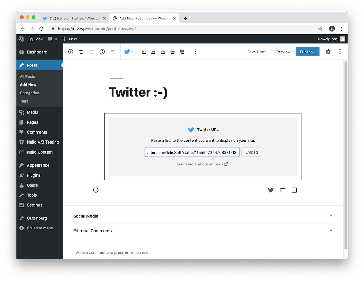 Paste the URL of a tweet into the Twitter block of the block editor to embed it.