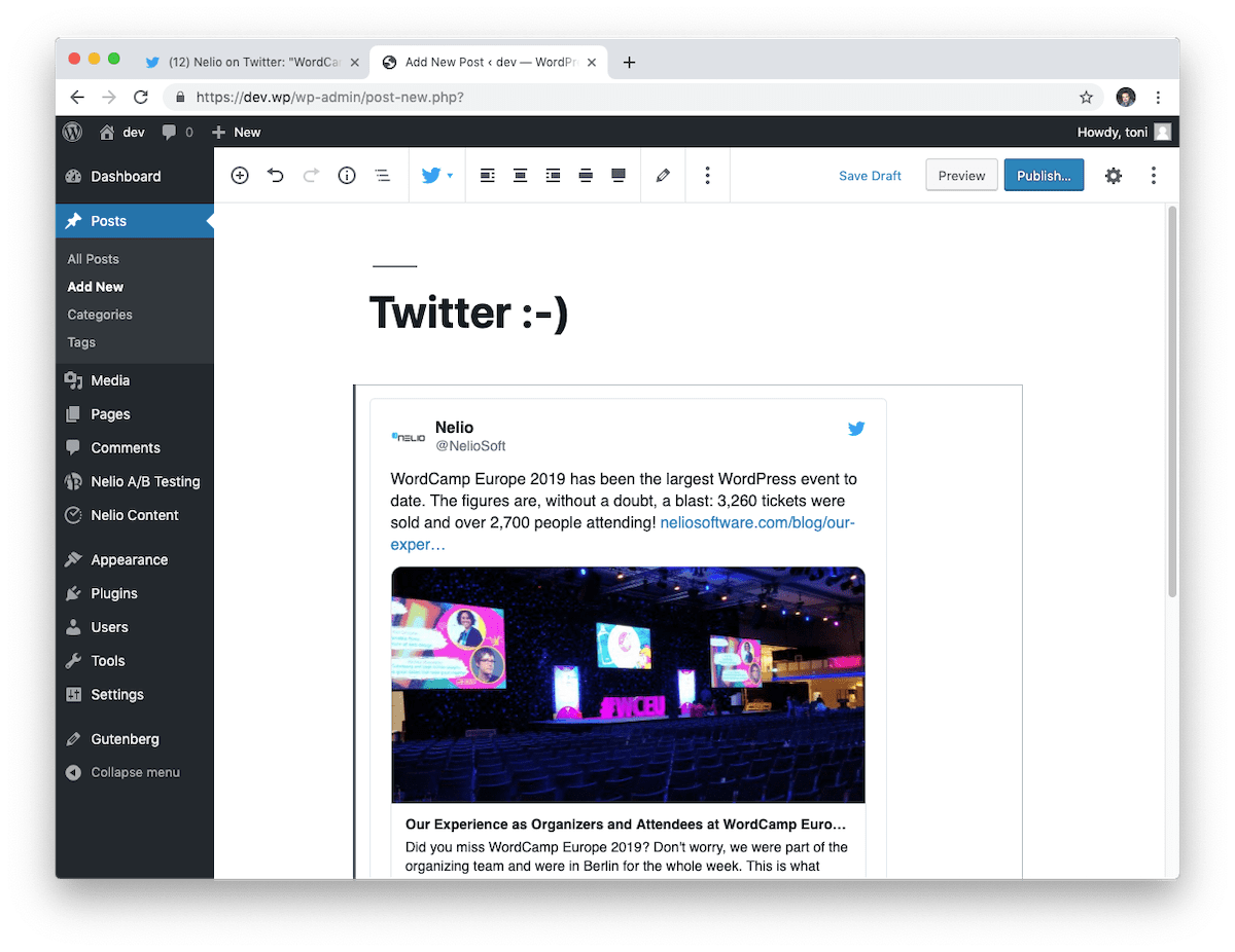 The Twitter block shows the preview of the tweet that we have embedded in the editor.