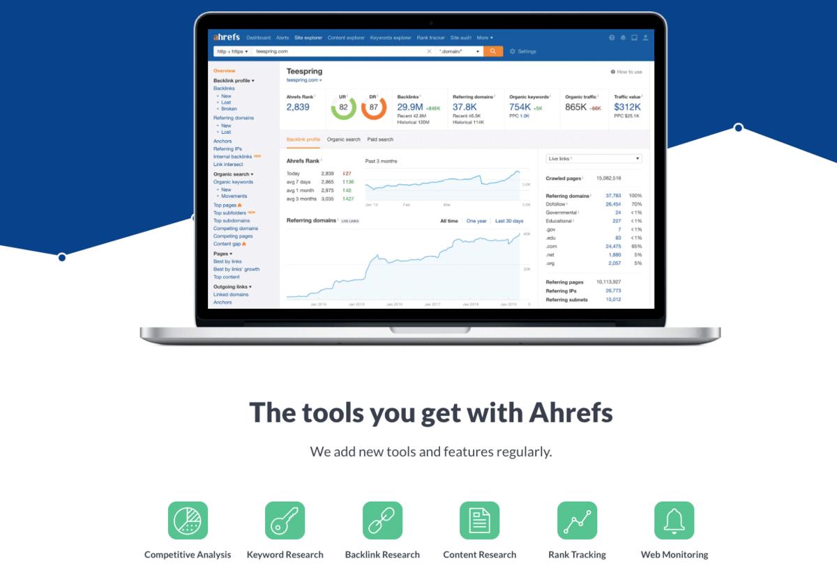 """Screenshot of the """"Ahrefs"""" website"""