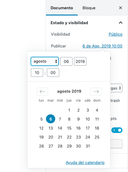 Esta es la interfaz de usuario para programar entradas en WordPress. Selecciona la fecha en el calendario flotante y listo.