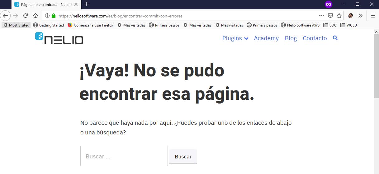 Error 404 con una URL incorrecta