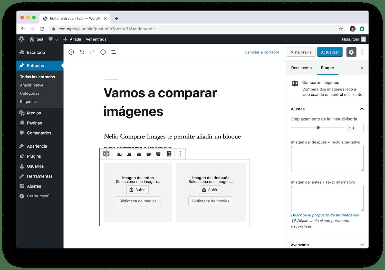 El bloque de Nelio Compare Images te permite seleccionar dos imágenes para compararlas.