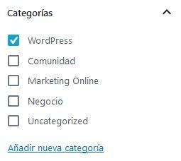 Selector de categorías en Gutenberg