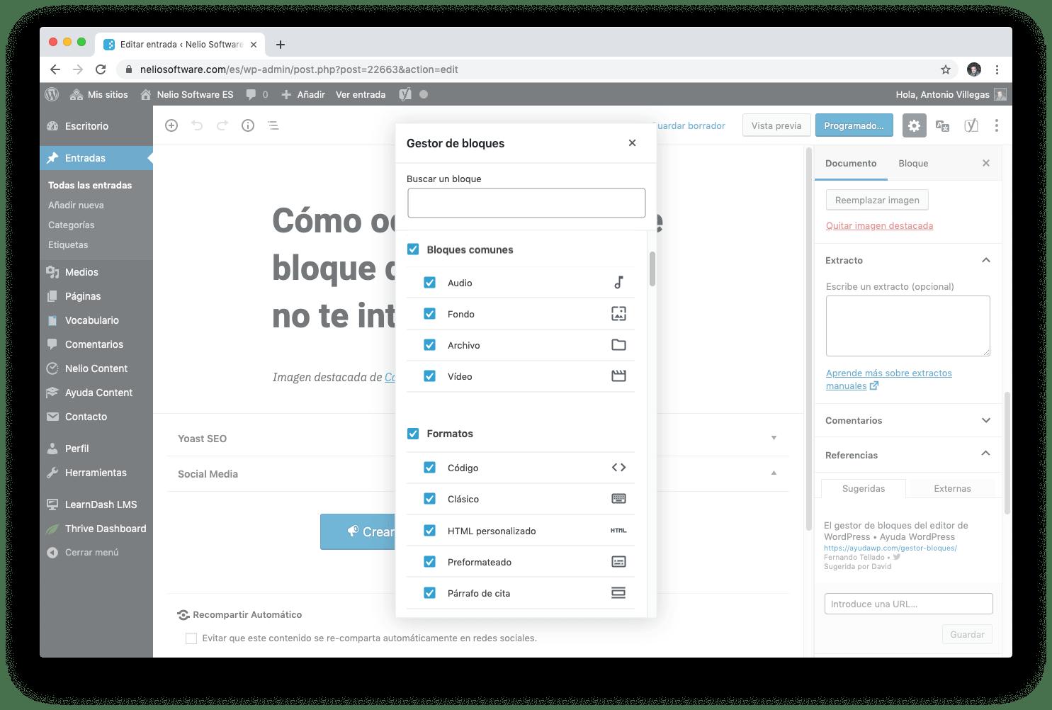 En el gestor de bloques del editor de WordPress puedes ocultar aquellos bloques que no vas a utilizar para simplificar la interfaz