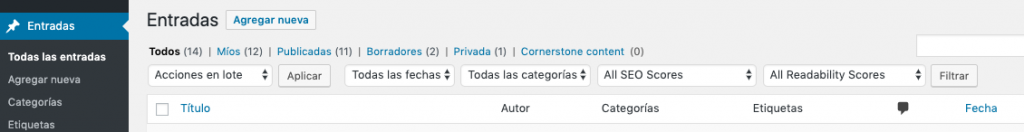 Screenshot of WordPress's Dashboard in Spanish (Argentina), where some translations are missing