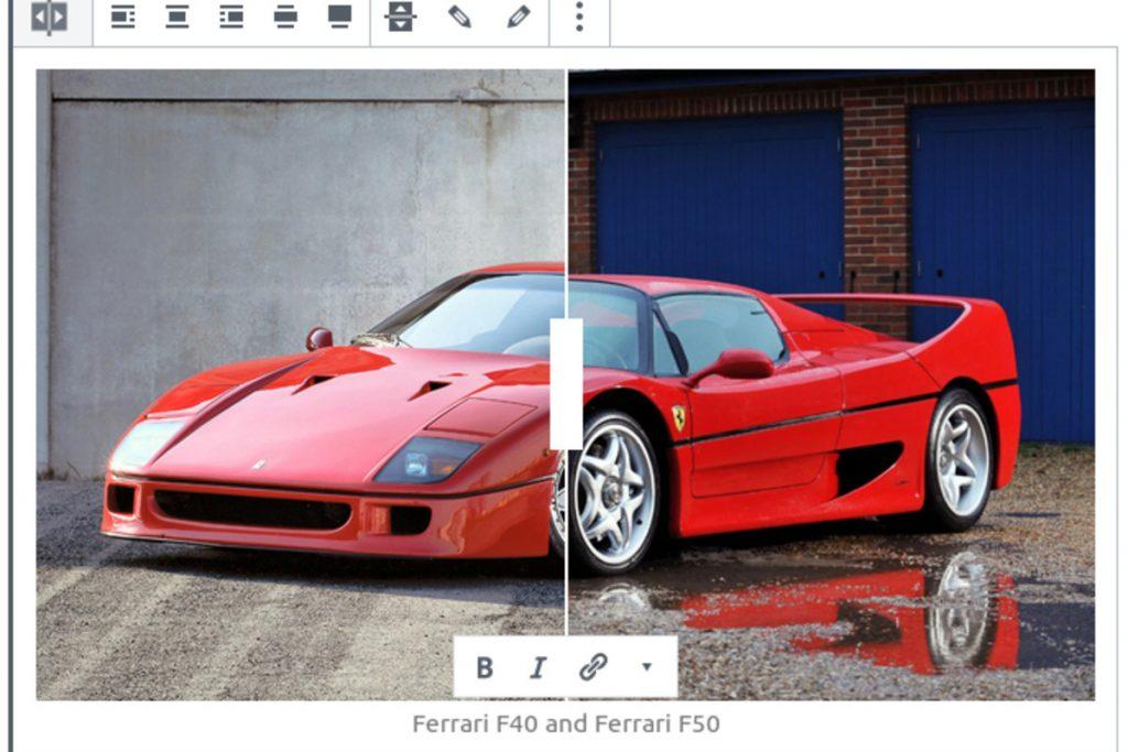 Captura de pantalla mostrando la comparativa de imágenes que permite hacer el plugin Nelio Compare