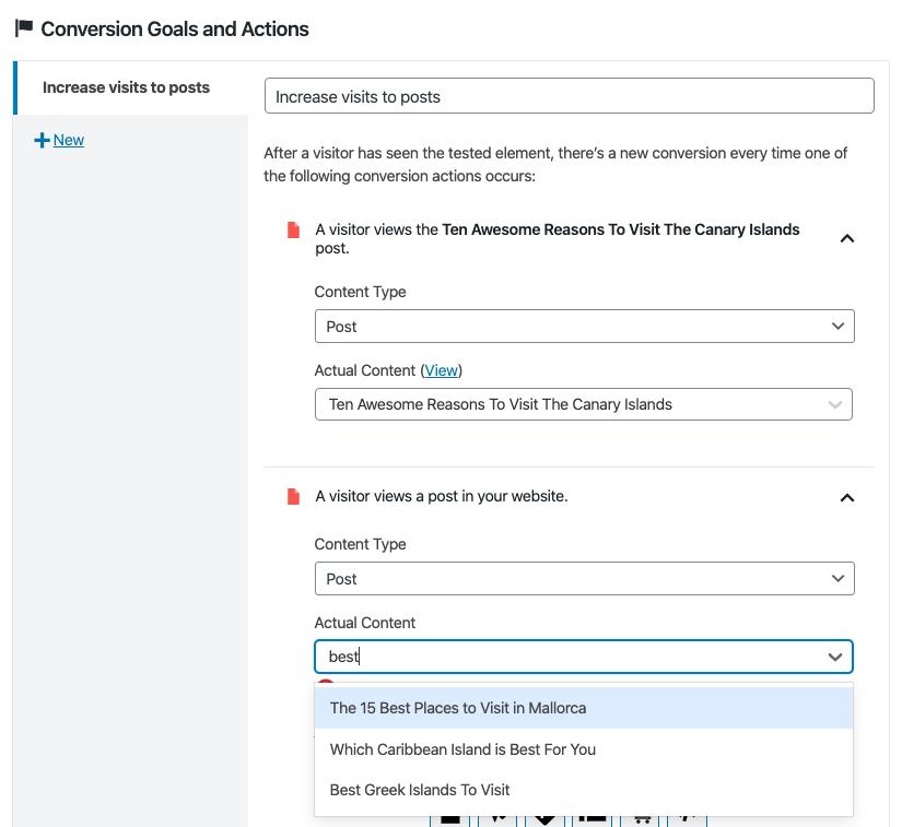 Añadir acciones de conversión en un test A/B con Nelio A/B testing.