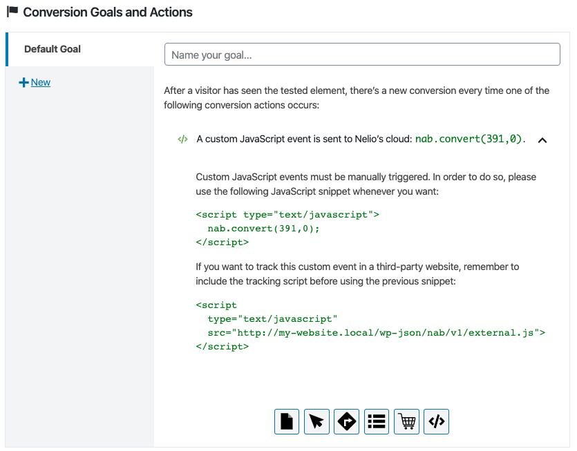 Evento JavaScript personalizado como acción de conversión.