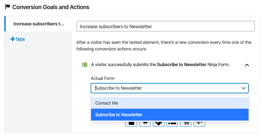 Add conversion actions in a ticket A / B test with Nelio A / B testing.