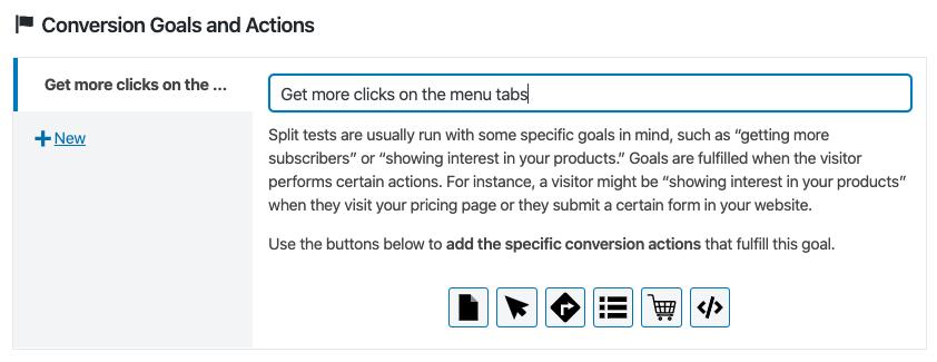 Definiendo un objetivo de conversion en un test de CSS con Nelio A/B Testing.