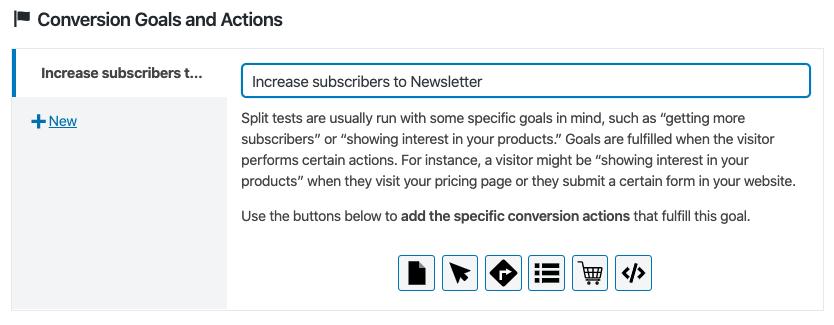 Definición de los objetivos de conversión en un test A/B de entradas con Nelio A/B testing.