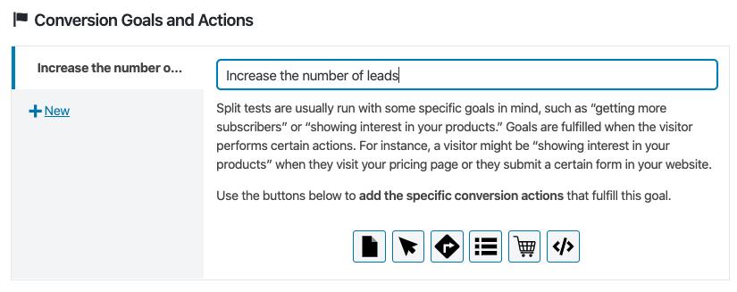 Definición de los objetivos de conversión en un test A/B de contenidos personalizados con Nelio A/B testing.
