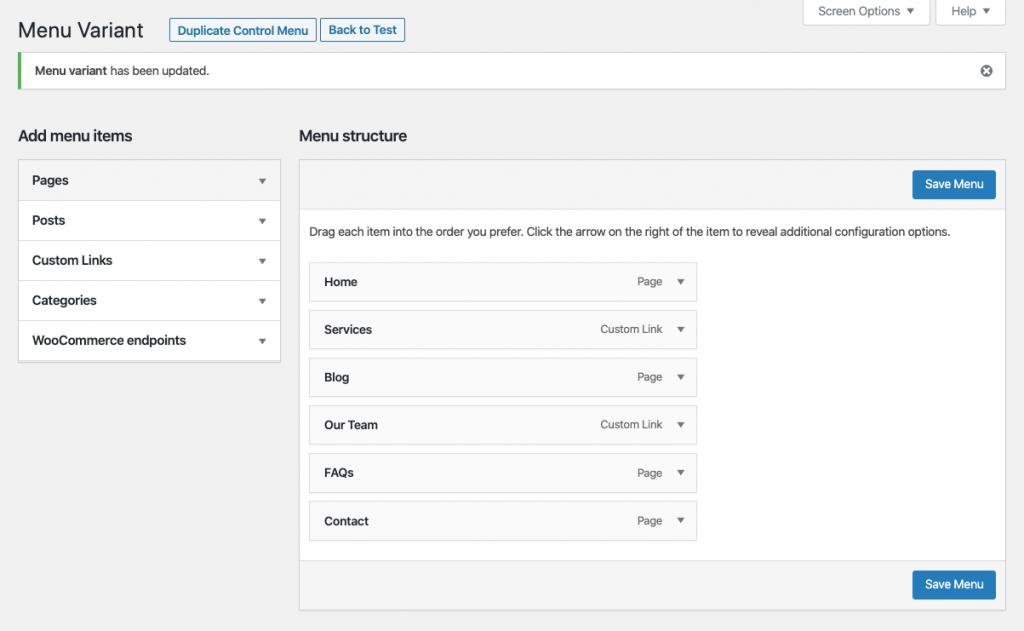 Editar una variación de un test A/B de menús con Nelio A/B Testing.