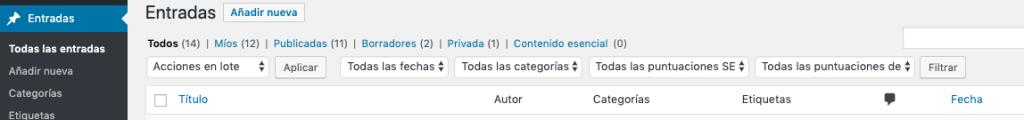 Screenshot of WordPress's Dashboard in Spanish (Spain)