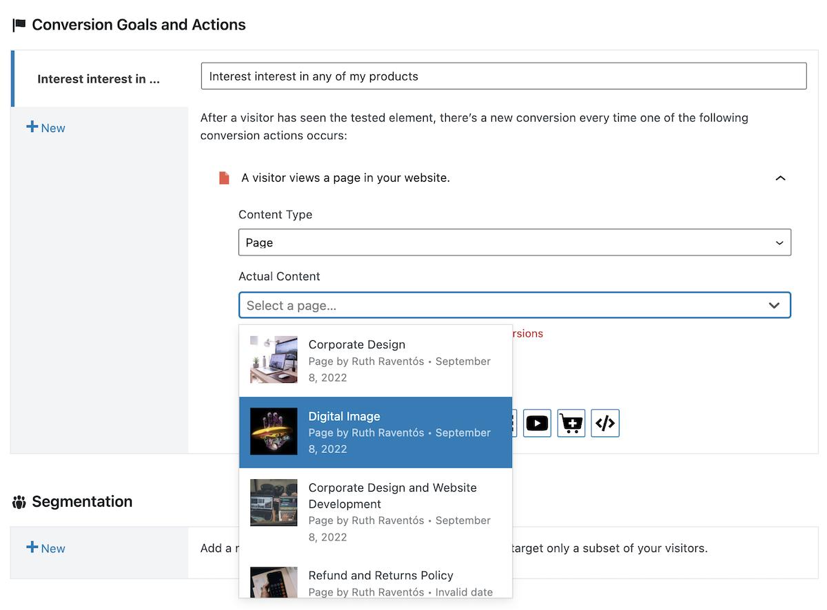 Definir visita a página como acción de conversión