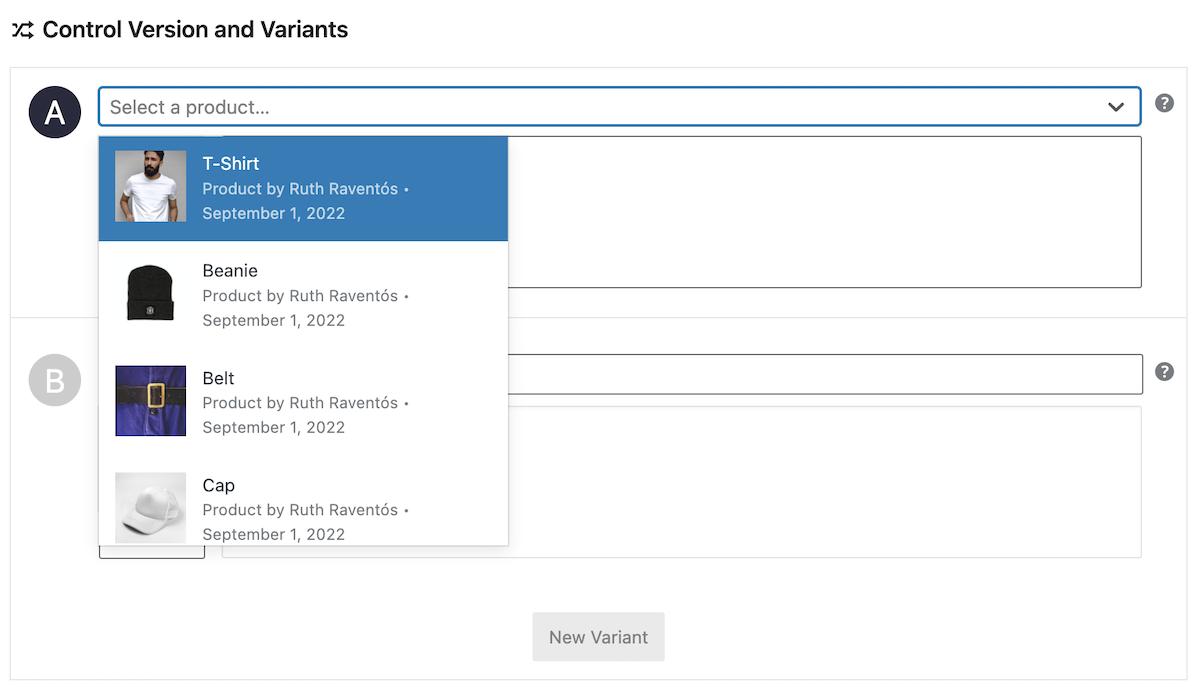 Selección de resumen de producto de WooCommerce en un test A/B con Nelio A/B Testing.