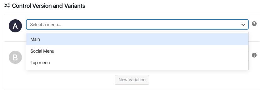 Selección de un menú de un test A/B con Nelio A/B Testing.