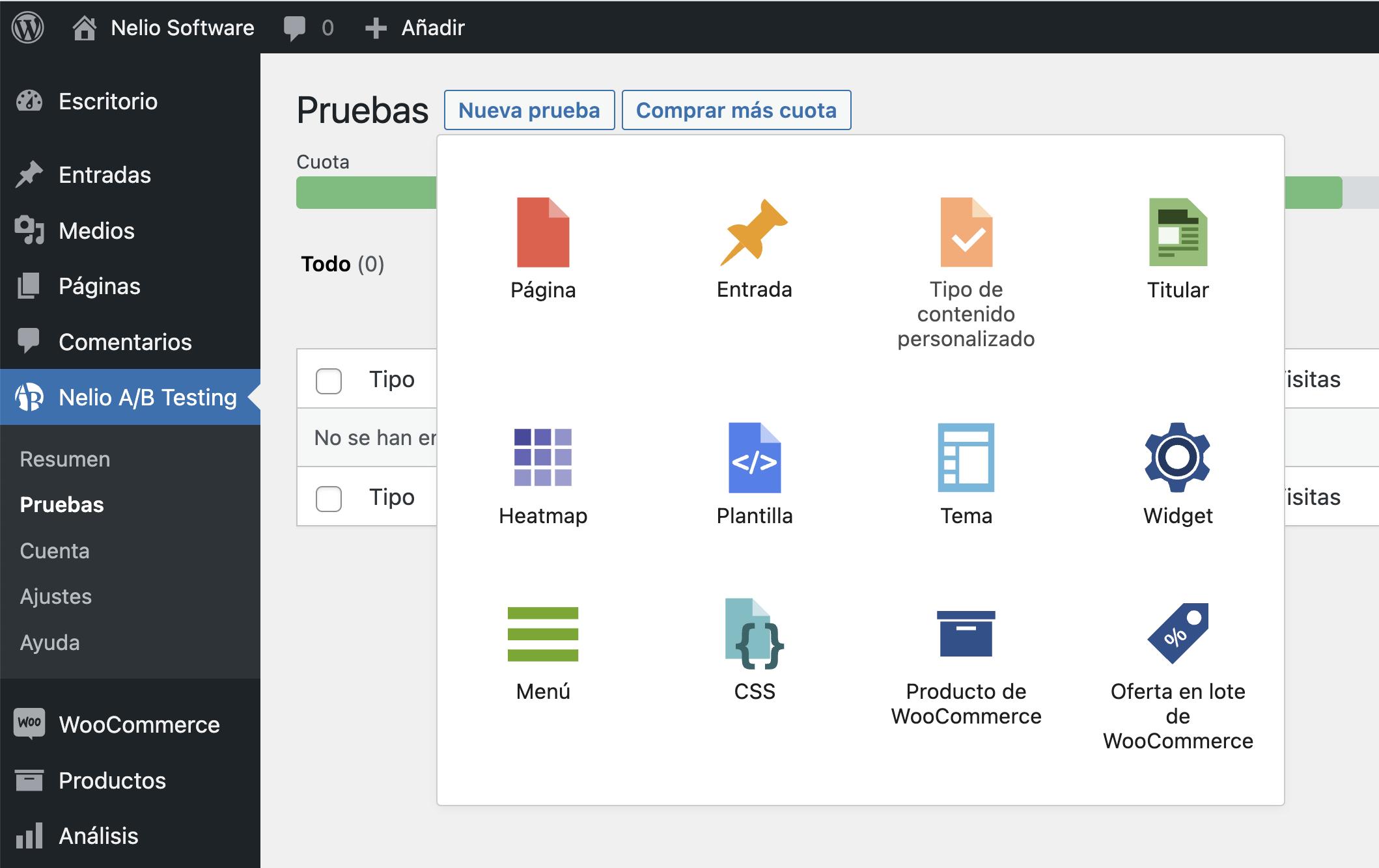 Selector de tipos de test en Nelio A/B testing.