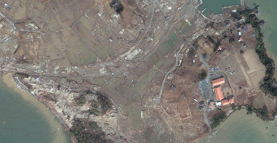Vista satelital de Japón después del terremoto de 2011.