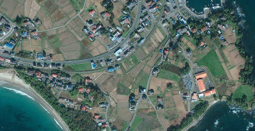 Vista satelital de Japón antes del terremoto de 2011.