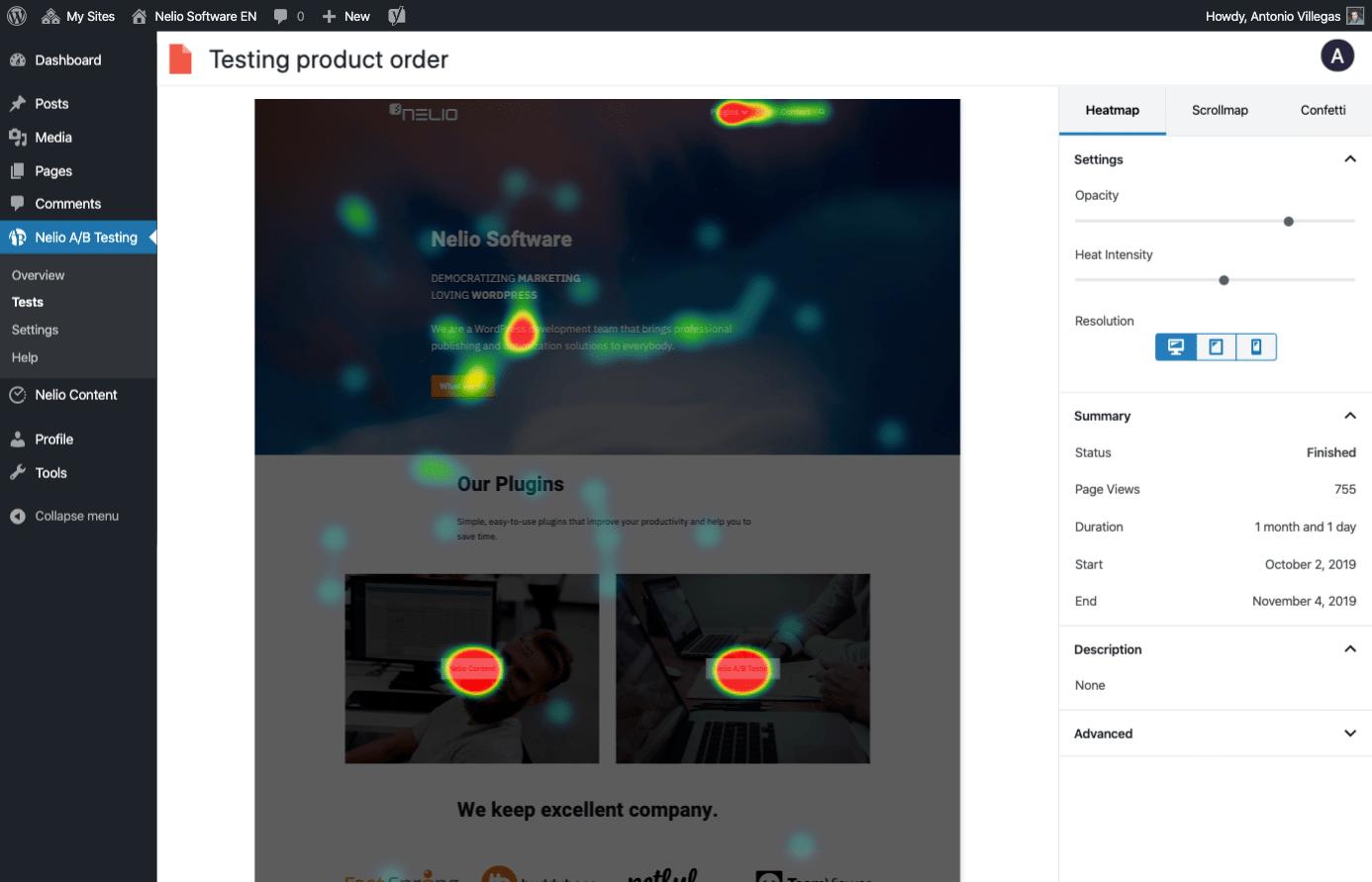Heatmap en Nelio A/B Testing
