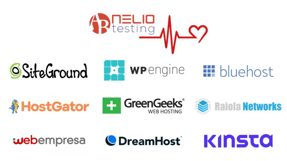 Iconos de diferentes proveedores de hosting, como SiteGround, WPEngine o webempresa, entre otros