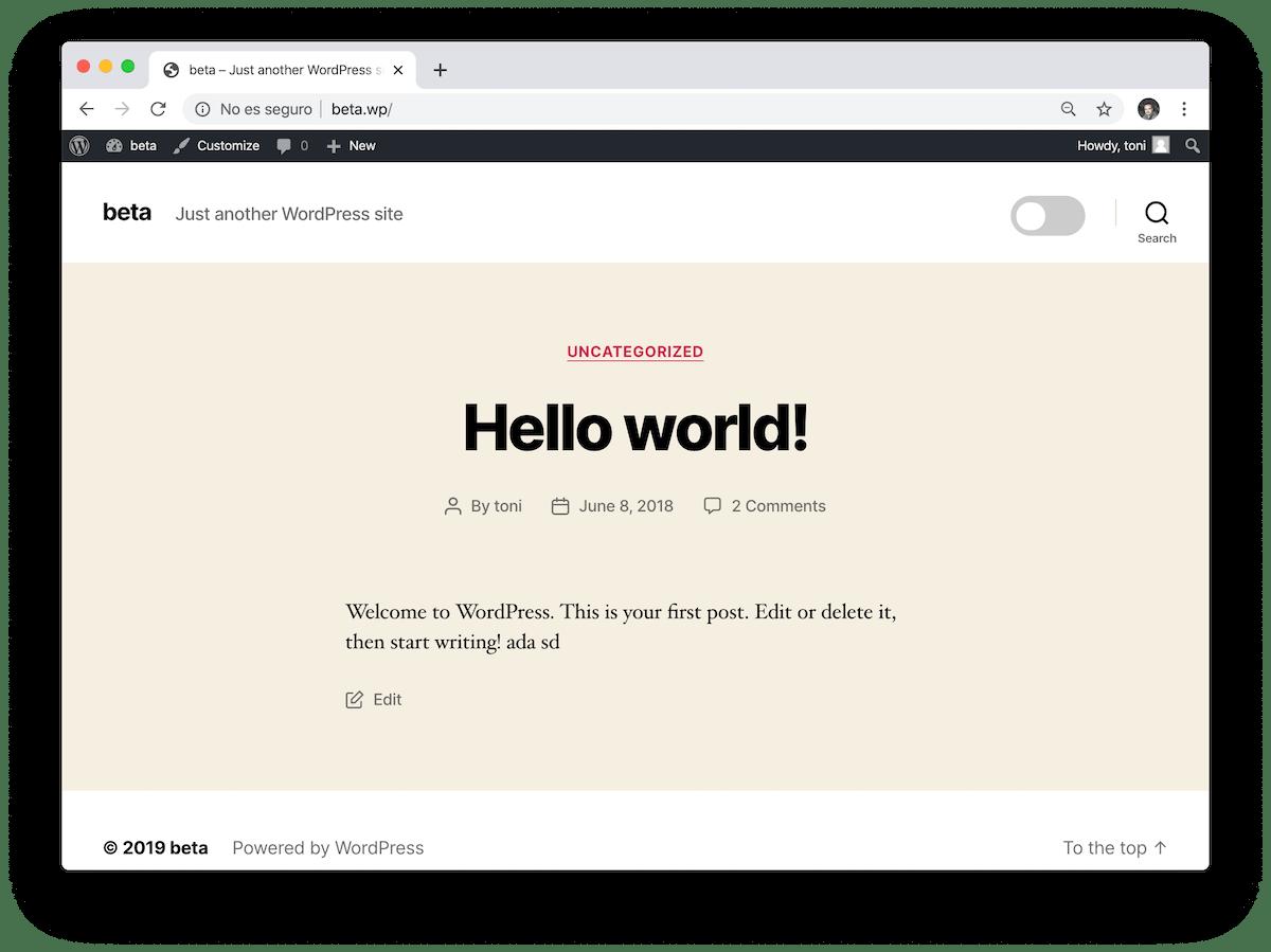 Captura de pantalla de la web con el modo noche desactivado.