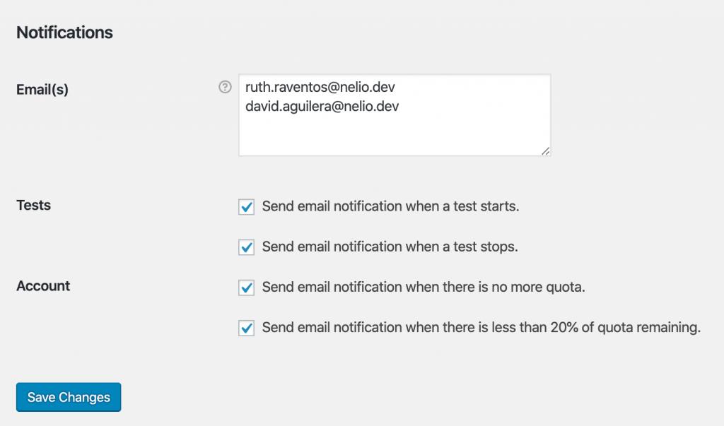 Notificaciones de Nelio A/B Testing en la página de Ajustes.